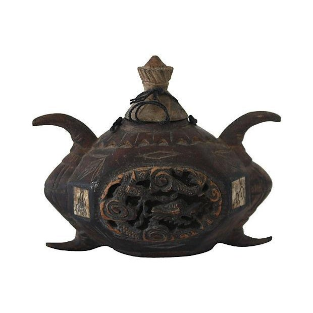 Antique chinese carved wooden opium pot chairish