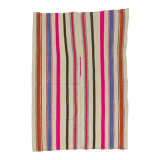 Vintage Colorful Striped Turkish Kilim Rug - 5′4″ × 7′8″
