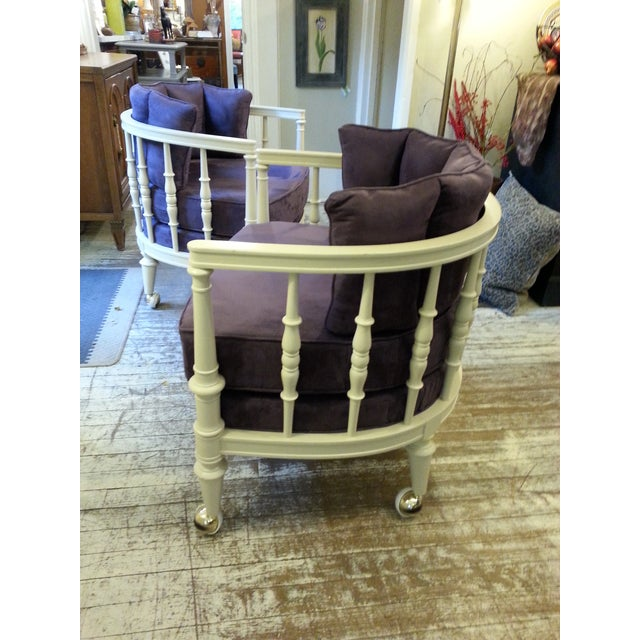 Vintage Purple Club Chairs - A Pair - Image 3 of 5