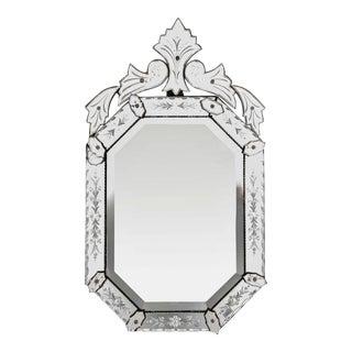 Italian 1940s Octagonal Venetian Mirror with Decorative Etching