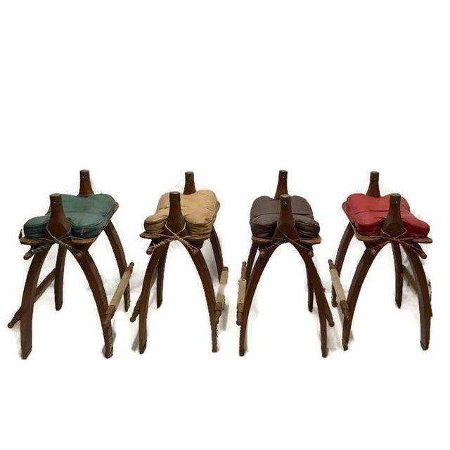 Vintage Egyptian Camel Saddle Bar Stools Set - 4 - Image 1 of 10