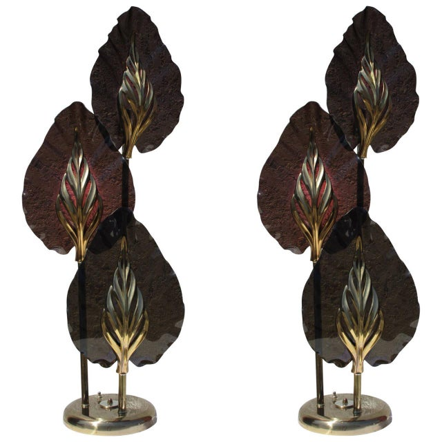 Image of Smoked Lucite/Brass Three Leaf Table Lamps - Pair