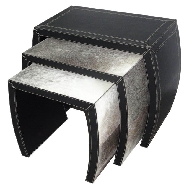 Hair on Black Leather Nesting Tables - Set of 3 - Image 1 of 5