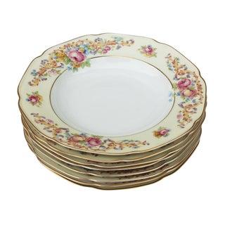 Vintage German Gilded Floral Soup/Salad Bowls - Set of 8
