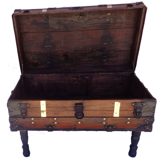 Antique Steamer Trunk/Coffee Table - Image 3 of 4