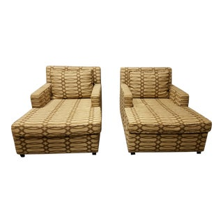 Custom Neutral Upholstered Chaises - A Pair