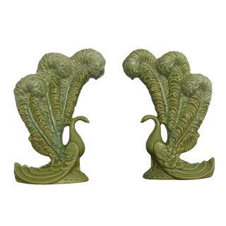 Royal Haeger Mid-Century Green Peacock Vases - A Pair