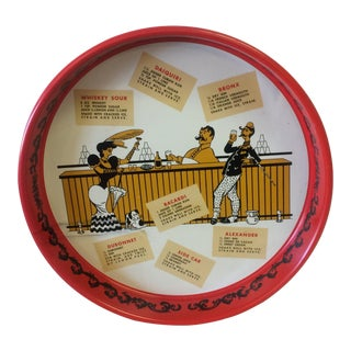 Mid-Century Red Metal Saloon Tray