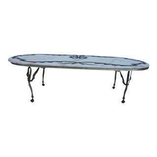 Italian Swan Leg & Oval Marble Top Coffee Table