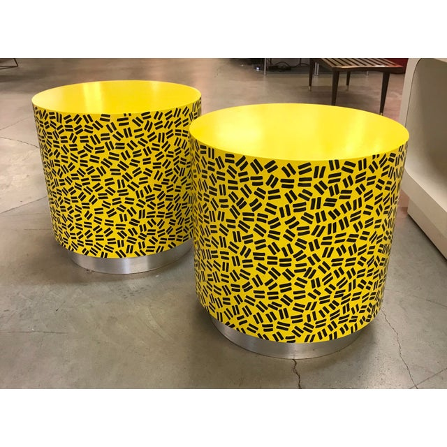 Pop Art Post Modern Cylinder Side Tables -A Pair - Image 5 of 7