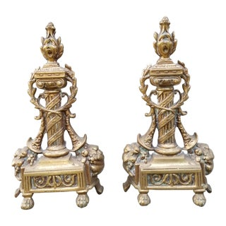Vintage French Empire Style Cast Brass Wrought Iron Fire Place Andirons - A Pair