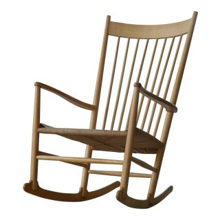 1950s Hans Wegner Beech and Papercord Rocking Chair