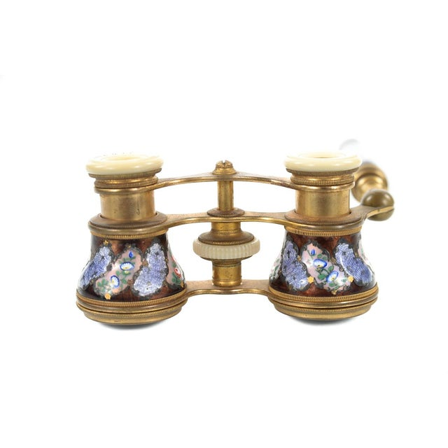 Antique 19th C French Enamel & Brass Opera Glasses - Image 8 of 9