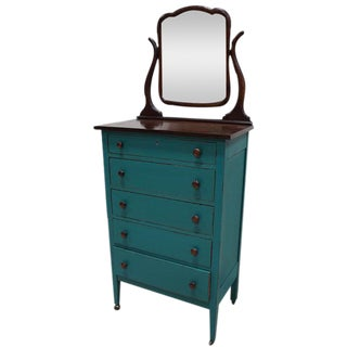 Turquoise Highboy Dresser on Casters