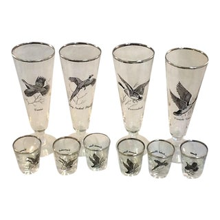 Mid Century Pilsners. Silver-Rimmed Waterfowl Images. Pilsners & Shot Glasses - Set of 10