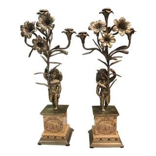 Vintage Cherub & Flower Bronze Candelabras - A Pair