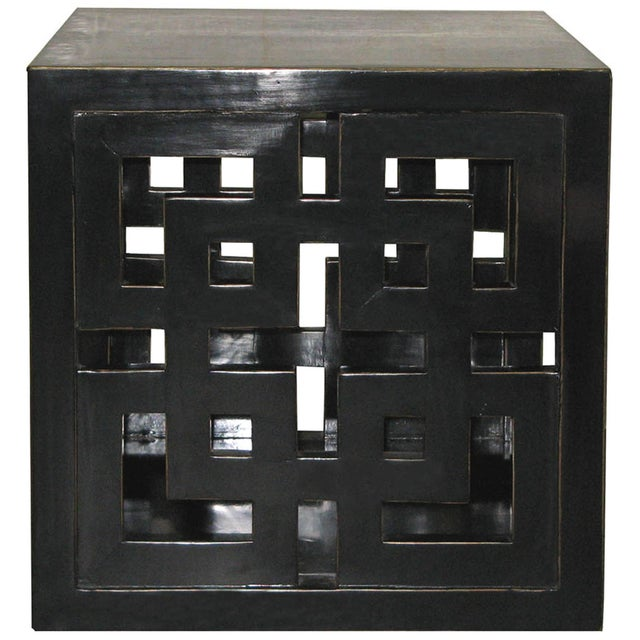Black Lacquer Lattice Panel Cube Table - Image 2 of 2