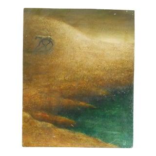Minimalist Horse Landscape Oil Painting