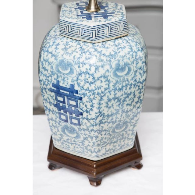 Pair of Hexagon Chinese Lidded Jars as Table Lamps - Image 5 of 6