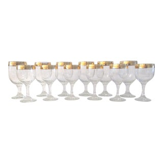 24k Gold Banded Wine Glasses - Set of 12