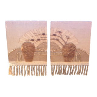 Vintage Golden Fan Wall Hanging - A Pair