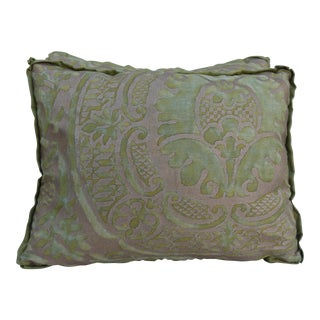 Green and Gold Fortuny Textile Pillows - A Pair