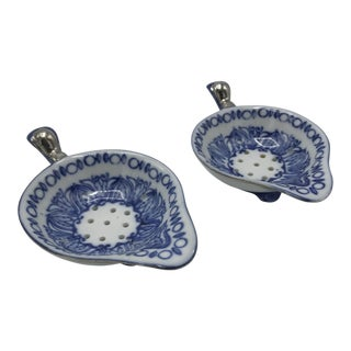 Blue and White Ceramic Tea Bag Strainers - A Pair