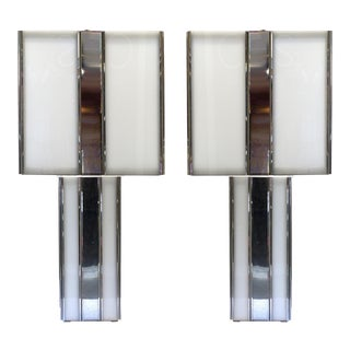 Mid-Century Modern Acrylic & Metal Table Lamps - A Pair