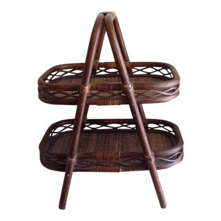 Tiki Bamboo Two Tiered Wood Tray