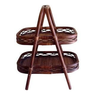 Tiki Bamboo Two Tiered Wood Tray