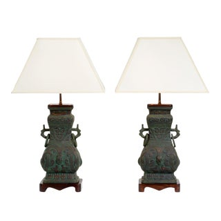 Chinoiserie Cast Bronze Table Lamps - a Pair