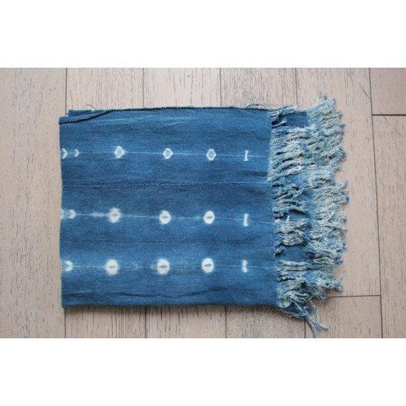 African Mud Cloth Indigo Shibori Throw Blanket - Image 5 of 6