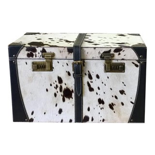 Leather Black & White Storage Trunk Box