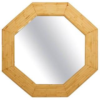 Karl Springer Style Tessellated Bone Veneer Mirror