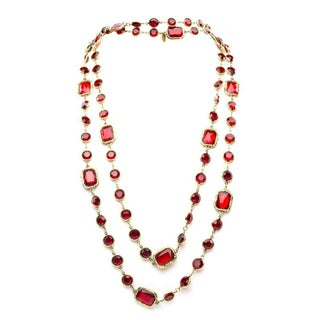 Chanel Vintage Ruby Red Chicklet Necklace
