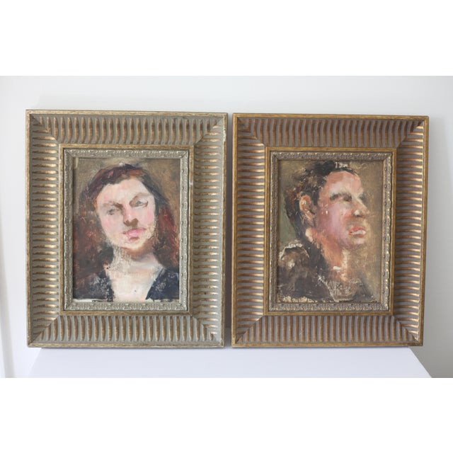 Man and Woman Portrait Paintings - A Pair - Image 2 of 6