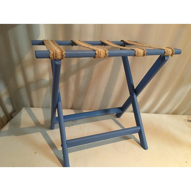 Sky Blue & Sisal Luggage Rack - Image 4 of 4
