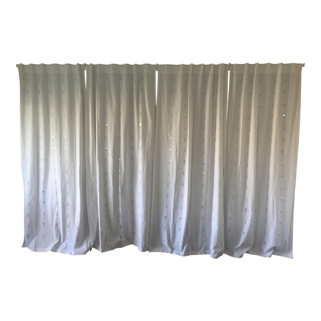 Embroidered Jewelry White Curtains - Set of 4 - Image 1 of 5