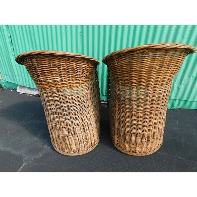 Boho Chic Wicker Stools - A Pair - Image 4 of 9