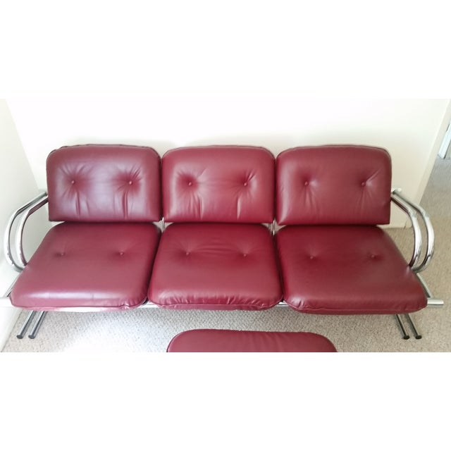 Vintage Chrome 3-Seat Sofa With Foot Stool - Image 3 of 9