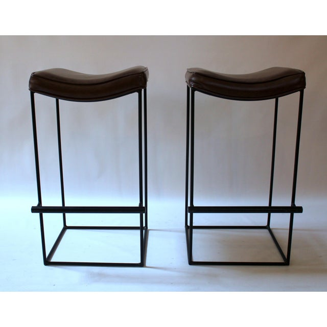 Mid-Century Modern Upholstered Iron Bar Stools - A Pair - Image 4 of 10