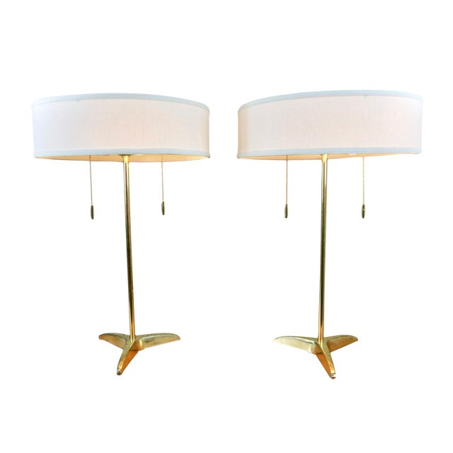 Gerald Thurston Brass Table Lamps- A Pair - Image 1 of 6