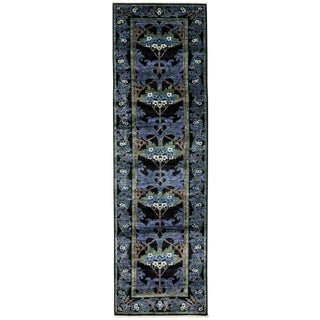 "Arts & Crafts Blue Hand Knotted Runner - 2'7"" X 10'"