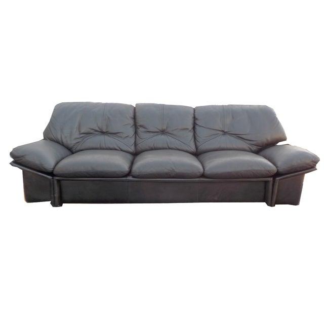 Mid-Century Minimalist Black Leather Italian Sofa - Image 1 of 9