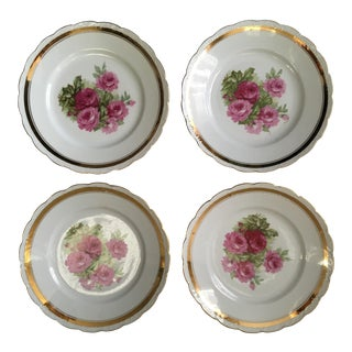 Scallop Edged Rose Plates- Set of 4