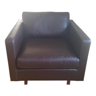 Milo Baughman Mahogany Leather Armchair