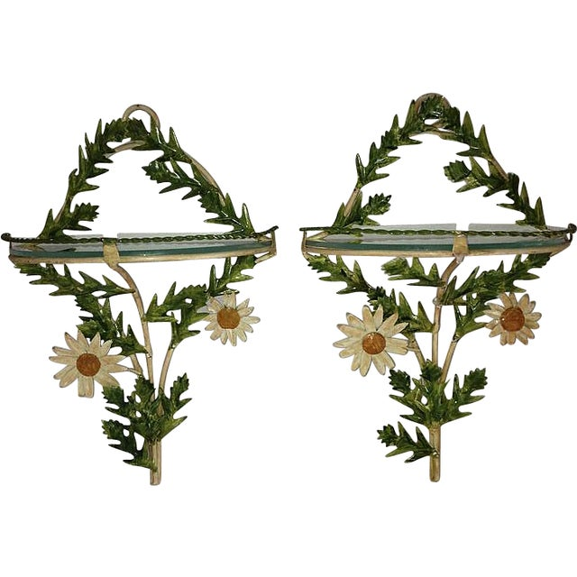 Image of Tole Daisy Sconce Wall Shelves - Pair
