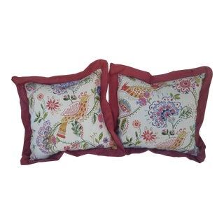 Bird and Floral Pillows - A Pair