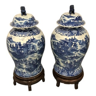 Chinese Blue & White Ginger Jar - A Pair
