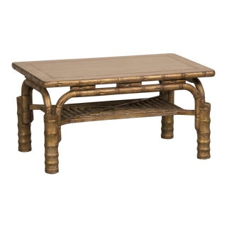 Striking Vintage French Gilded Coffee Table Standing on Bamboo Legs circa 1910